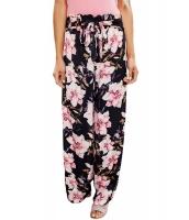 ブラック ピンク 花柄 サテン ワイドパンツ cc77027-22