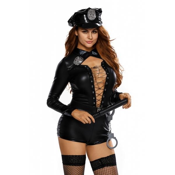 スタイリッシュ 6点セット 女性 警官 コスチューム cc89032-2