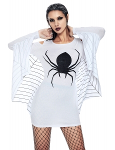 ホワイト 蜘蛛網 ジャージー チュニック ドレス cc89052-1