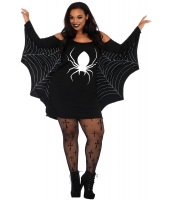 ハロウィン衣装 コスチューム コスプレ 蜘蛛網 大きいサイズ ジャージー チュニック ドレス cc89052-2