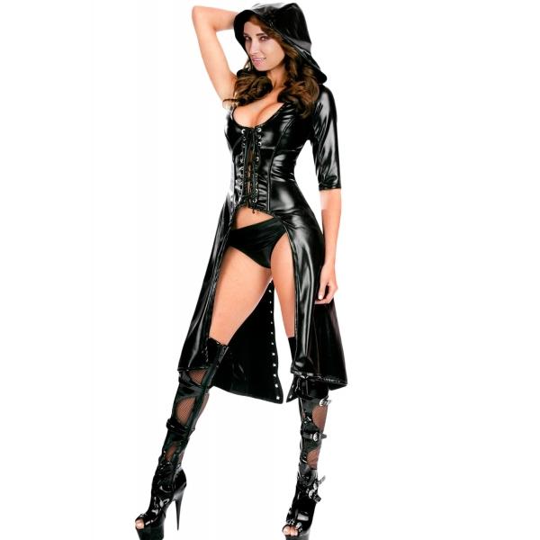 ブラック ゴシック パンク セクシー スイート エンドウ豆 フード コート ガウン ドレス cc8960-2