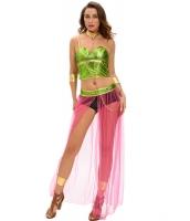 グリーン ピンク 6点セット 奴隷 プリンセス コスチューム cc8990-9