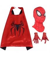 スパイダーマン コスチューム 大人/子供共通 マント+マスク+グローブx2 4点セット qx10161-22