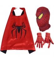 スパイダーマン コスチューム 大人/子供共通 マント+マスク+グローブx2 4点セット qx10159-8