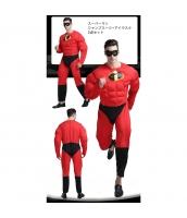 スーパーマン コスチューム 筋肉ジャンプスーツ+アイマスク 2点セット qx10005-14