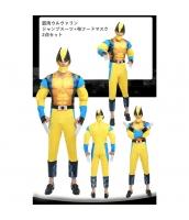 筋肉ウルヴァリン X-Men コスチューム ジャンプスーツ+布フードマスク 2点セット qx10020-19
