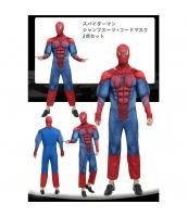 スパイダーマン コスチューム 筋肉ジャンプスーツ+フードマスク 2点セット qx10020-17