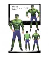 超人ハルク/ブルース・バナー アベンジャーズ コスチューム 筋肉ジャンプスーツ+マスク 2点セット qx10144-9