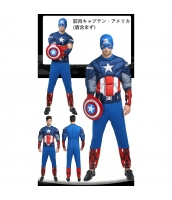 キャプテン・アメリカ/スティーブ・ロジャース アベンジャーズ コスチューム 筋肉ジャンプスーツ+布フードマスク(盾含まず) 2点セット qx10020-10