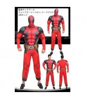 筋肉デッドプール X-MEN コスチューム ジャンプスーツ+ベルト+フードマスク 3点セット qx10044-1