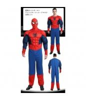 スパイダーマン コスチューム 筋肉ジャンプスーツ+フードマスク 2点セット qx10105-1