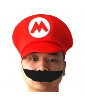 マリオ スーパーマリオ コスプレ小道具 帽子+口髭 2点セット qx10007-5