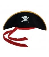 パイレーツ・オブ・カリビアン コスプレ小道具 海賊帽子 レッド帯 髑髏 qx10019-2