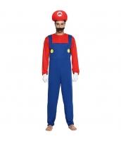 マリオ スーパーマリオ コスチューム サロペット風ジャンプスーツ+帽子+口髭 3点セット 155-165cm 長袖 qx10017-1