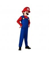 マリオ スーパーマリオ コスチューム 7-9歳児 サロペット+帽子+口髭 3点セット 着丈110cm バスト84cm qx10017-17