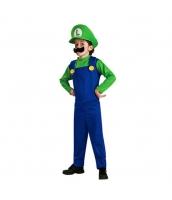 ルイージ スーパーマリオ コスチューム 7-9歳児 サロペット+帽子+口髭 3点セット 着丈110cm バスト84cm qx10017-18
