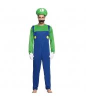 ルイージ スーパーマリオ コスチューム サロペット風ジャンプスーツ+帽子+口髭 3点セット 165-175cm 長袖 qx10017-4