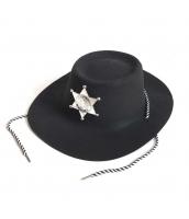 カウボーイ コスプレ小道具 警察 保安官 シェリフ帽子 ブラック 薄手 qx10018-11