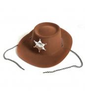 カウボーイ コスプレ小道具 警察 保安官 シェリフ帽子 ブラウン 薄手 qx10018-12