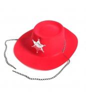 カウボーイ コスプレ小道具 警察 保安官 シェリフ帽子 レッド 薄手 qx10018-13