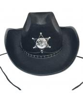 カウボーイ コスプレ小道具 警察 保安官 シェリフ帽子 ブラック 厚手 qx10018-2