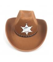 カウボーイ コスプレ小道具 警察 保安官 シェリフ帽子 ブラウン 厚手 qx10018-3