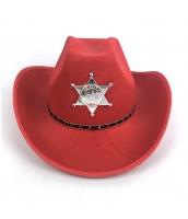 カウボーイ コスプレ小道具 警察 保安官 シェリフ帽子 レッド 厚手 qx10018-4