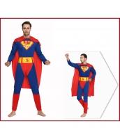 スーパーマン コスチューム ジャンプスーツ+マント 2点セット qx10020-3