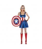 キャプテン・アメリカ/スティーブ・ロジャース アベンジャーズ コスチューム ドレス+アイマスク+盾 3点セット qx10020-6