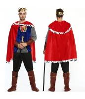 コスチューム 国王 キング トップス+パンツ+マント+ベルト+ヘッドピース+アームカバーx2+ブーツカバーx2 9点セット qx10071-5