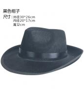 コスプレ小道具 ジャズバンド・紳士服小物 帽子・ハット 黒 qx10033-8