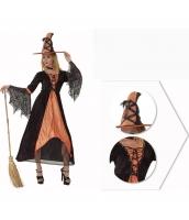 コスチューム オレンジ魔女 ウィッチ ドレス+帽子(箒含まず) 2点セット qx10037-16