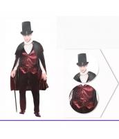 コスチューム 紳士バンパイア マント+帽子+シャツ+ベスト+パンツ 5点セット qx10037-20