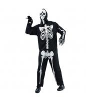 コスチューム スケルトン 髑髏 ジャンプスーツ+マスク 2点セット qx10037-22