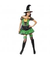 コスチューム グリーン魔女 ウィッチ ドレス+帽子 2点セット qx10037-23