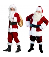 クリスマス コスチューム サンタクロース豪華フルセット ウィッグ+帽子+メガネ+口髭+トップス+グローブ+パンツ+ベルト+ブーツ+プレゼント袋 10点セット qx10040-1