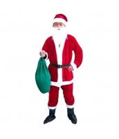 クリスマス コスチューム サンタクロース 帽子+口髭+トップス+ベルト+パンツ+ブーツ+プレゼント袋 7点セット qx10040-2