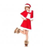クリスマス コスチューム レディースサンタ ドレス+ショール+帽子 3点セット qx10040-3
