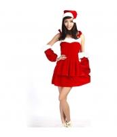 クリスマス コスチューム セクシーレディースサンタ ドレス+アームカバーx2+帽子 4点セット qx10040-4
