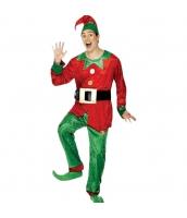 クリスマス コスチューム 男エルフ 帽子+トップス+ベルト+パンツ(靴含まず) 4点セット qx10040-5