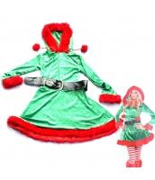 クリスマス コスチューム 女エルフ ドレス+ベルト 2点セット qx10040-6