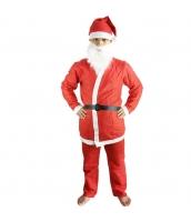 クリスマス コスチューム サンタクロース 帽子+口髭+トップス+ベルト+パンツ 5点セット qx10040-7