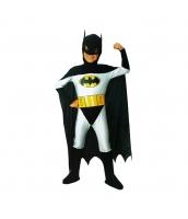 バットマン コスチューム 10-12歳児 ジャンプスーツ+フードマスク付きマント+ベルト 3点セット qx10046-2