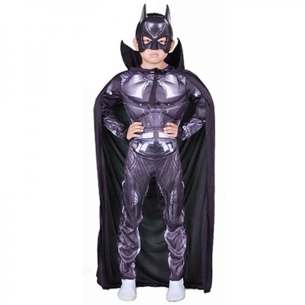 バットマン コスチューム 4-6歳児 筋肉ジャンプスーツ+マント+マスク 3点セット qx10046-3