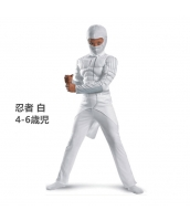 コスチューム 忍者 白 4-6歳児 筋肉ジャンプスーツ+フードマスク 2点セット qx10047-2
