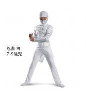 コスチューム 忍者 白 7-9歳児 筋肉ジャンプスーツ+フードマスク 2点セット qx10047-3