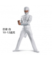 コスチューム 忍者 白 10-12歳児 筋肉ジャンプスーツ+フードマスク 2点セット qx10047-4