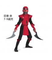 コスチューム 忍者 赤 7-9歳児 衣装+マスク+フード+ヘッドバンド 4点セット qx10047-5