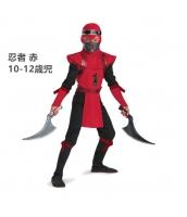 コスチューム 忍者 赤 10-12歳児 衣装+マスク+フード+ヘッドバンド 4点セット qx10047-6