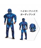 ヘイローファイブ:ガーディアンズ コスチューム ブルー Halo5:Guardian 筋肉ジャンプスーツ+ヘルメット 2点セット qx10059-1